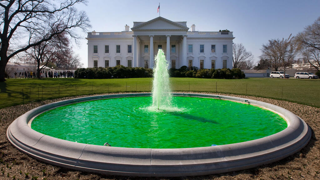 The north White House fountain has been dyed green for Saint Patrick's Day every year since 2009.