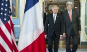 Secretary of State John Kerry, right, meets with French Foreign Minister Jean-Marc Ayrault at the State Department in Washington, Thursday, July 21, 2016. (AP Photo/Cliff Owen)