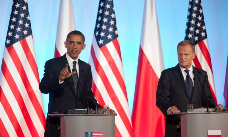President Barack Obama and Polish Prime Minister Donald Tusk make remarks during a press conference at the Chancellery Building in Warsaw, Poland, May 28, 2011. (Official White House Photo by Lawrence Jackson)