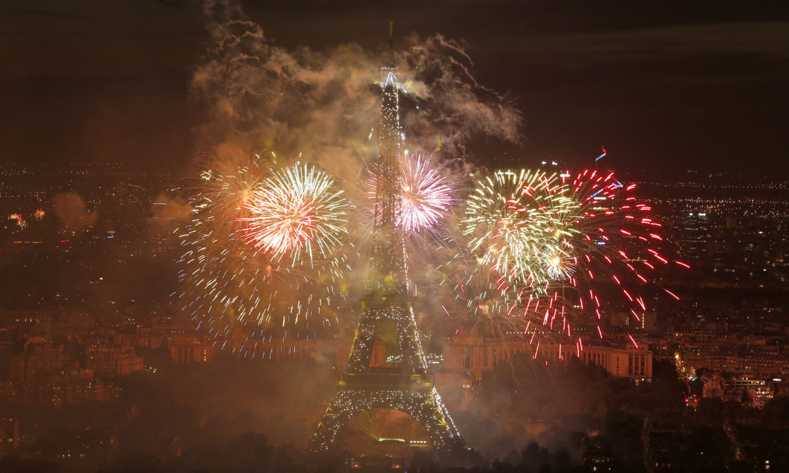 Fireworks display by the Eiffel Tower on Bastille Day, in Paris, Friday, July 14, 2017.
